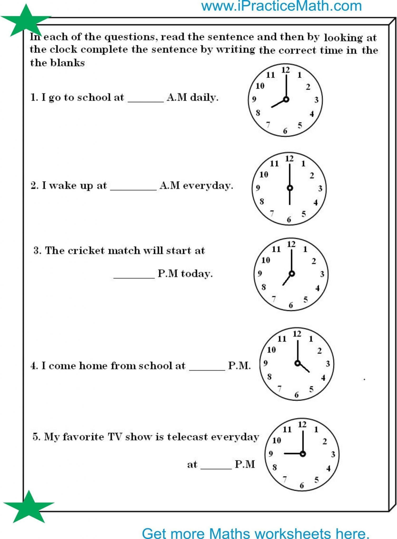 Academicreadable Telling Time In Spanish Worksheets