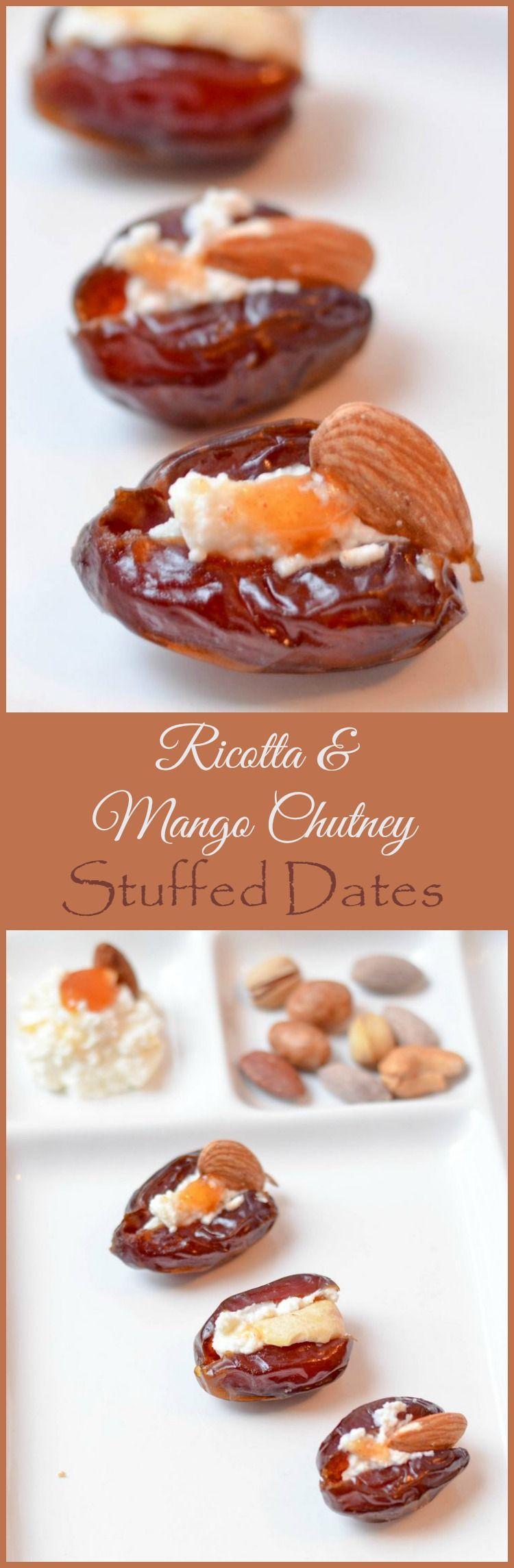 Ricotta & Mango Chutney Stuffed Dates Holiday Appetizer Recipe #TheCulturedKitchen