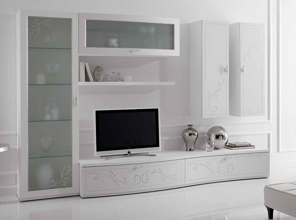 Italian Wall Unit Prestige Liberty 107 White By Spar Www Umodstyle Com Tv Room Design Wall Unit Living Room Units