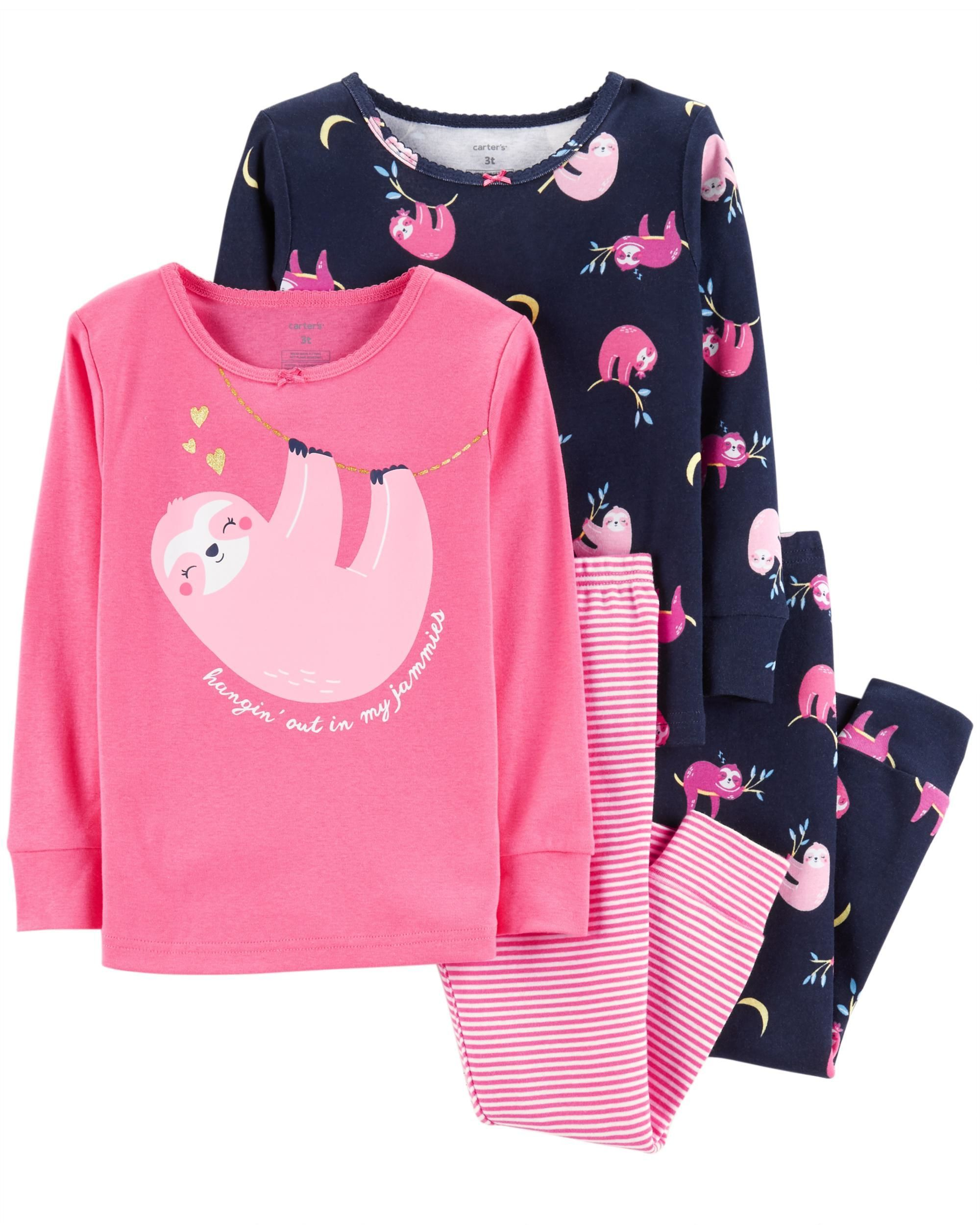 45875d8ca76e 4-Piece Glitter Sloth Snug Fit Cotton PJs