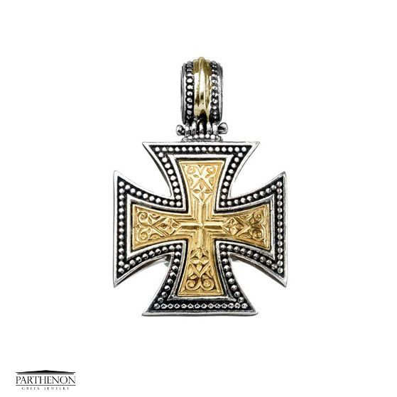 Handmade maltese cross pendant silver and gold aloadofball Image collections