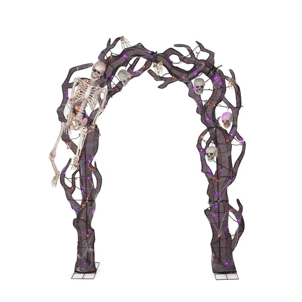 Home Depot Skeleton And Skull Arch Halloween Outdoor Decorations Orange And Purple Outdoor Halloween