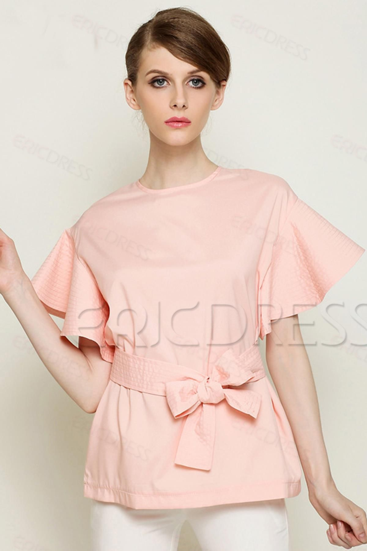 Fashion Loose Round-Neck Falbala Short Sleeve Blouse With Belt