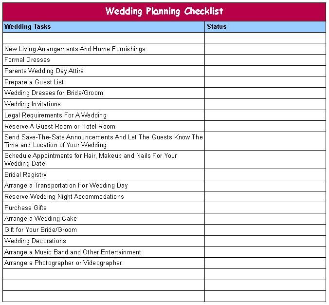 Wedding Plan. Free Wedding Planning Checklist (Pdf Print Or