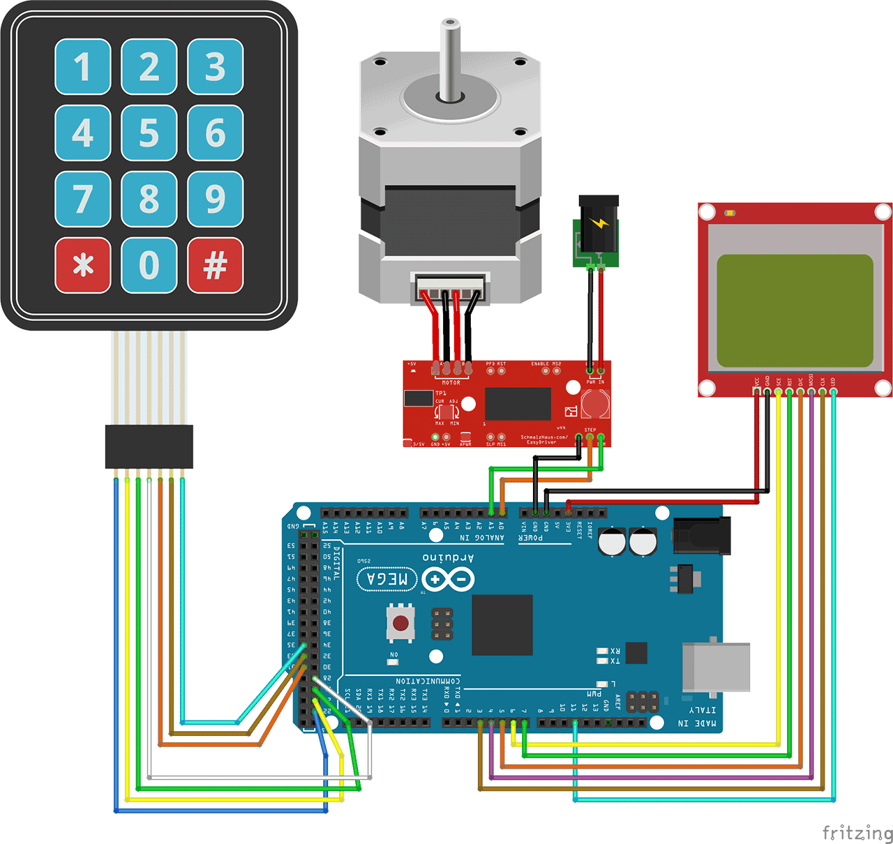 let s control the movement of a stepper motor by entering a value in millimeters using an arduino a keypad and display the position on a nokia lcd [ 1280 x 1210 Pixel ]