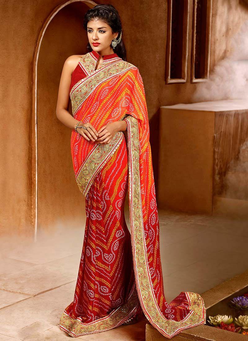 454753005a Red Bandhini Print Patli Pallu Saree. Red Bandhini Print Patli Pallu Saree  Buy latest Indian sarees online at best price ...