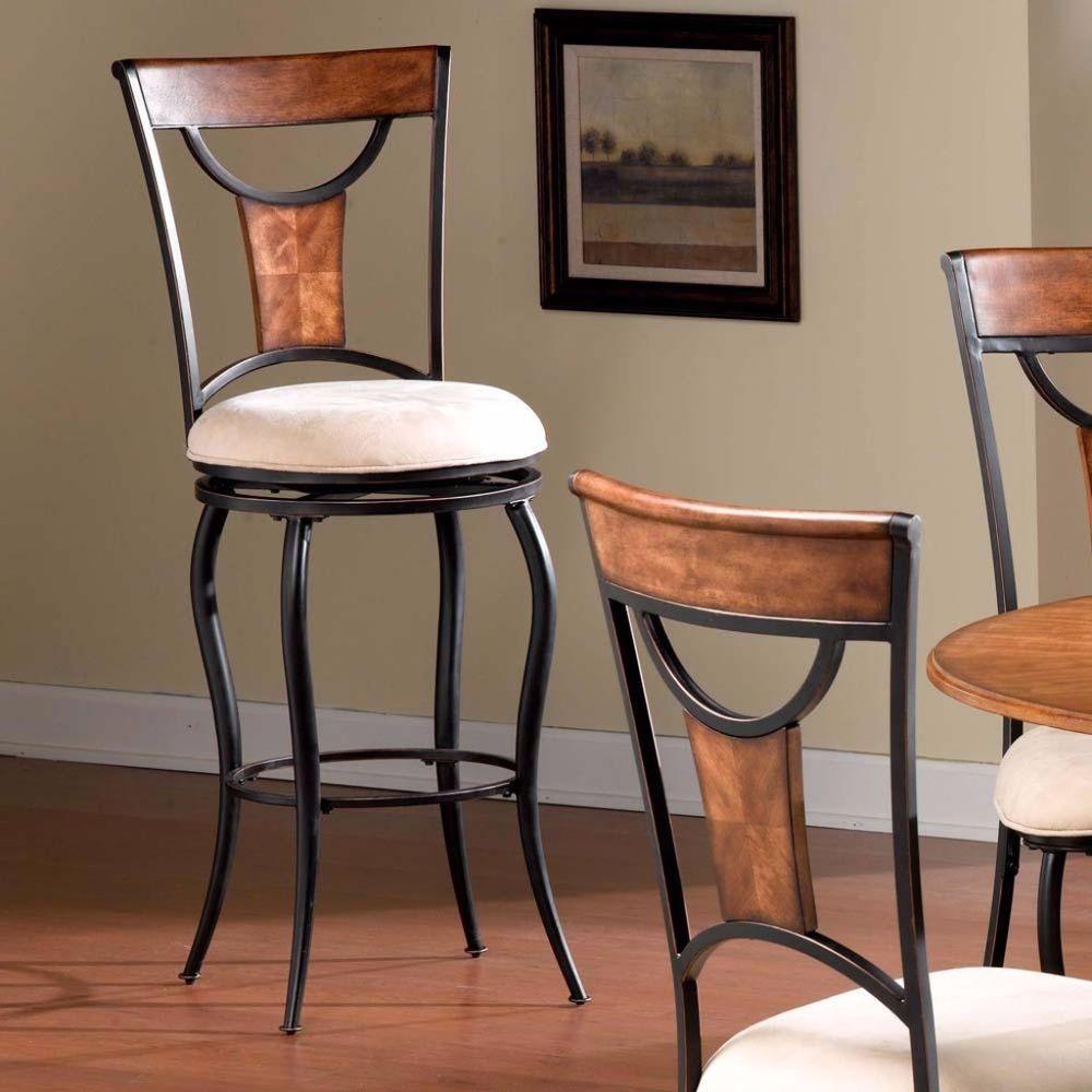 Black And Copper 360 Degree Swivel Versatile Seat Cushioned Bar