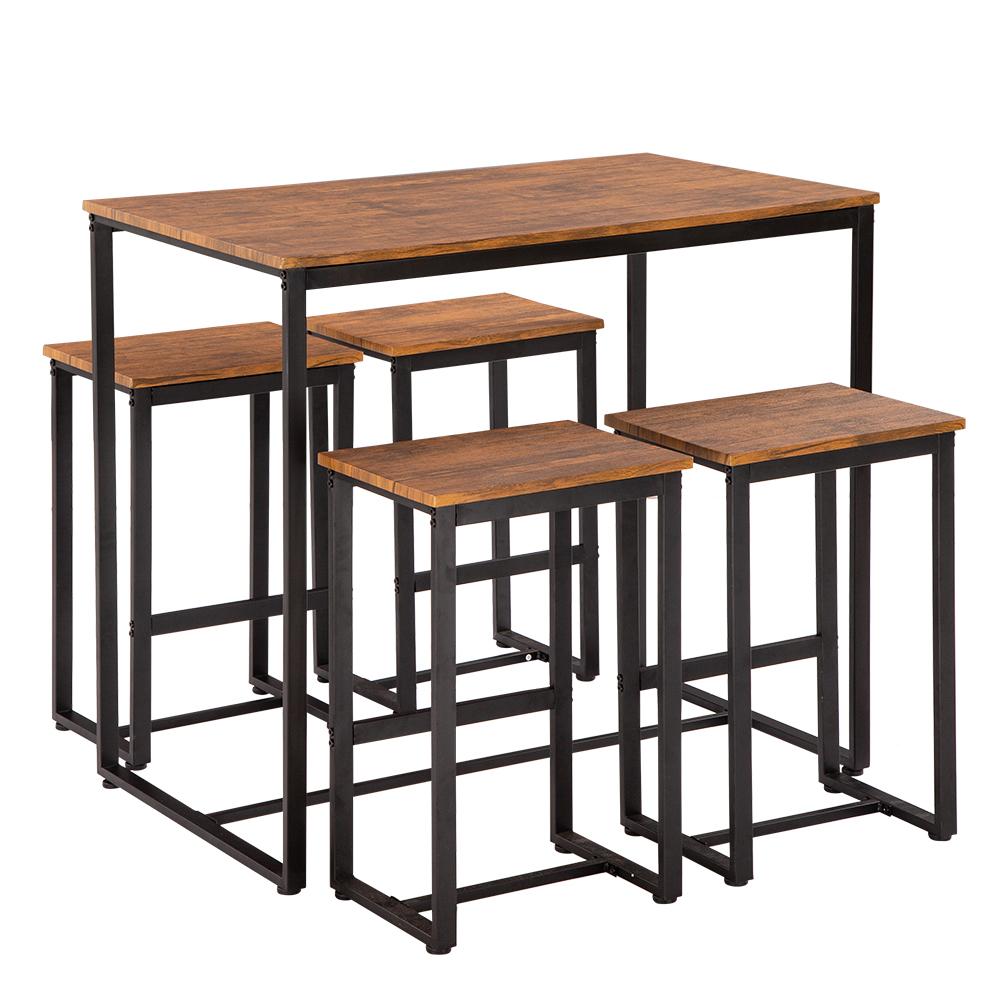 Simple Eucalyptus Pattern 87cm High Bar Table And Chair Set Of 5 100 X 60 X 87cm Walmart Com Wood Bar Table Table And Chair Sets Bar Table