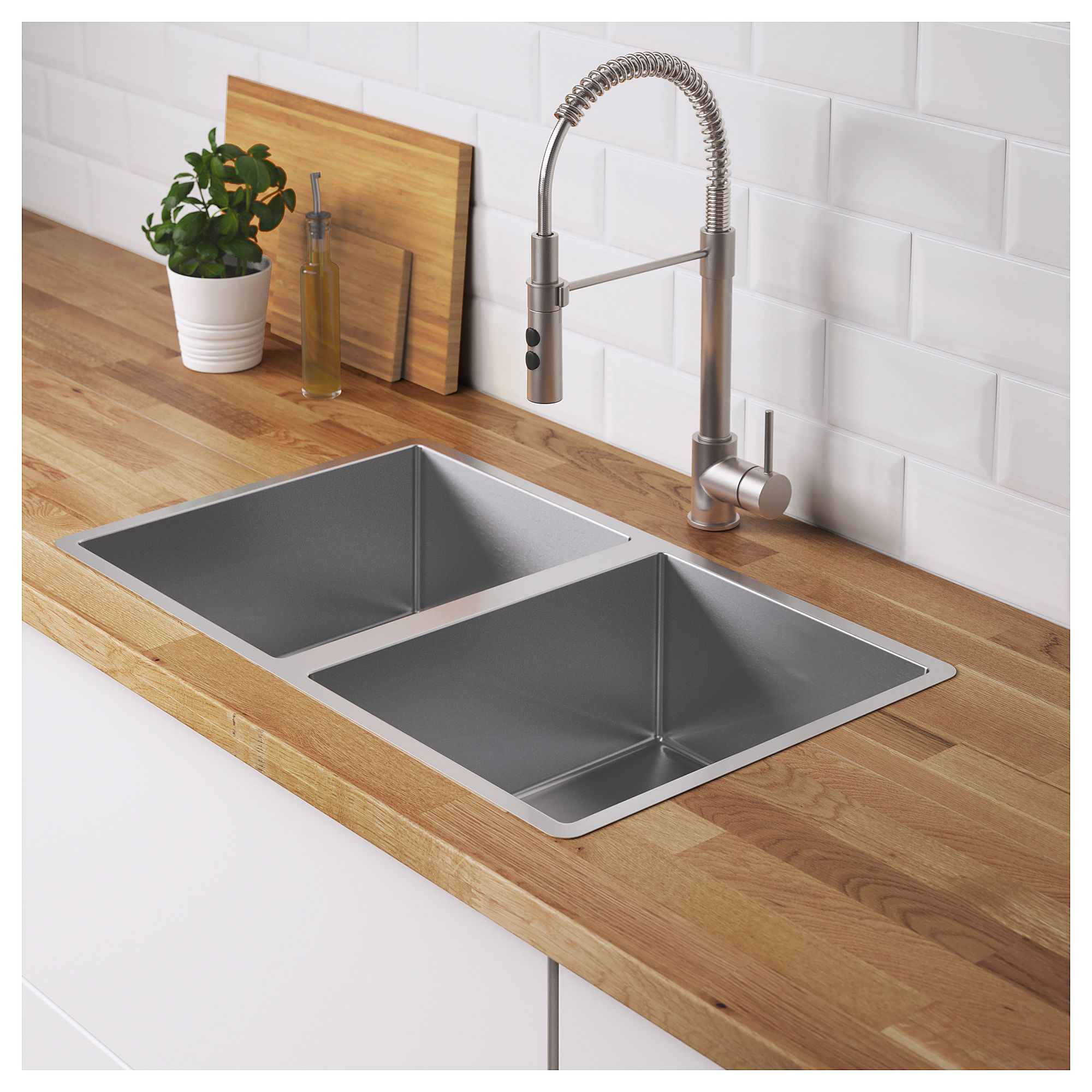 Ikea Norrsjon Double Bowl Top Mount Sink Stainless Steel With