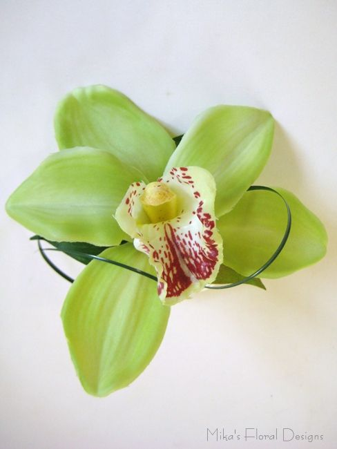 Cymbidium Orchid Wrist Corsages: Lime Green Cymbidium Orchid Wrist Corsage