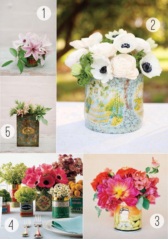 Tin can floral arrangements lyssas 21st pinterest floral diy floral inspiration tin can and tea tin vases solutioingenieria Choice Image