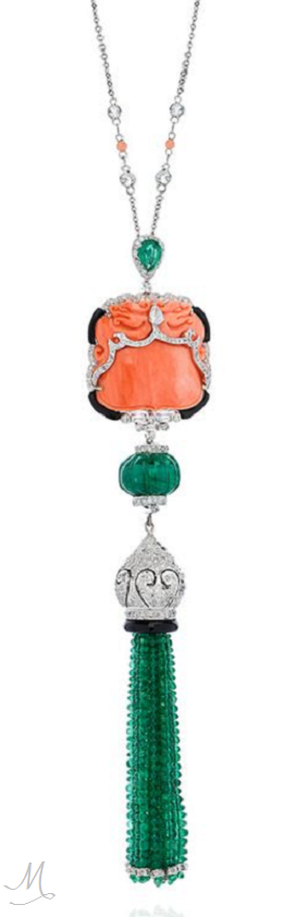 White gold, emerald, coral and diamond tassel necklace by Nigaam at Talisman Galler
