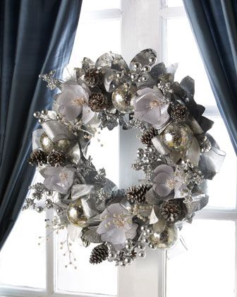 Inspired Silver And White Window Garland Kittiekraft Holiday Wreaths Christmas Door Hangings Silver Christmas
