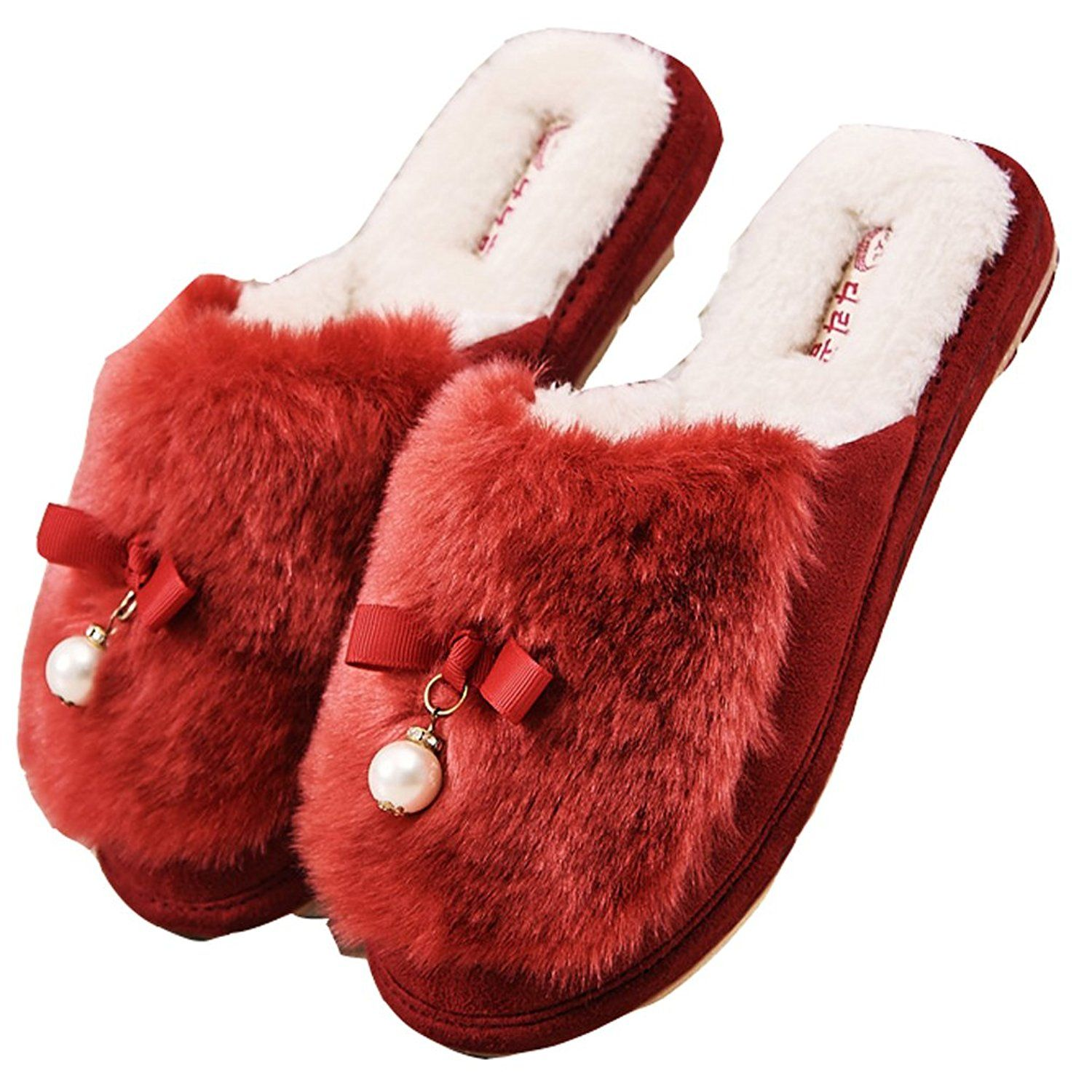 Blubi Womens Pearl Deco Fur Bedroom Slippers Cozy Home Slippers See This Great Product Slippers Cozy Slippers Bedroom Slippers