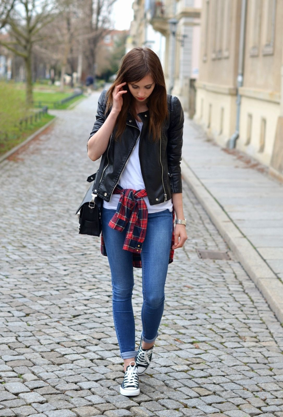 Women S Black Leather Jacket White And Red And Navy Plaid
