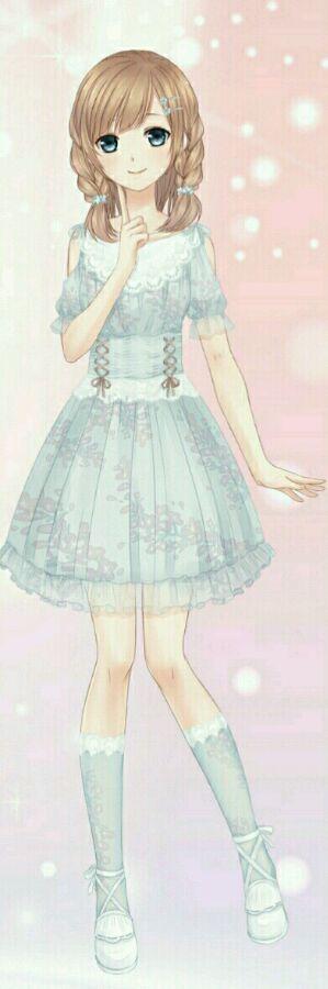 Manga fille robe bleue mode - Personnage manga fille ...