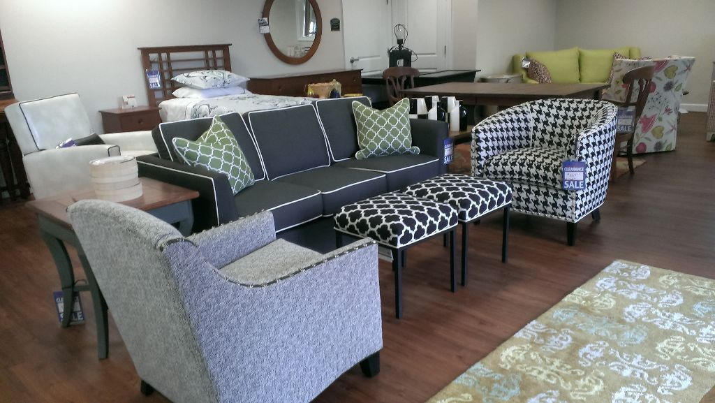 Norwalk Heather Sofa with tweed and houndstooth accent chairs and bunching ottomans - beautiful combination!