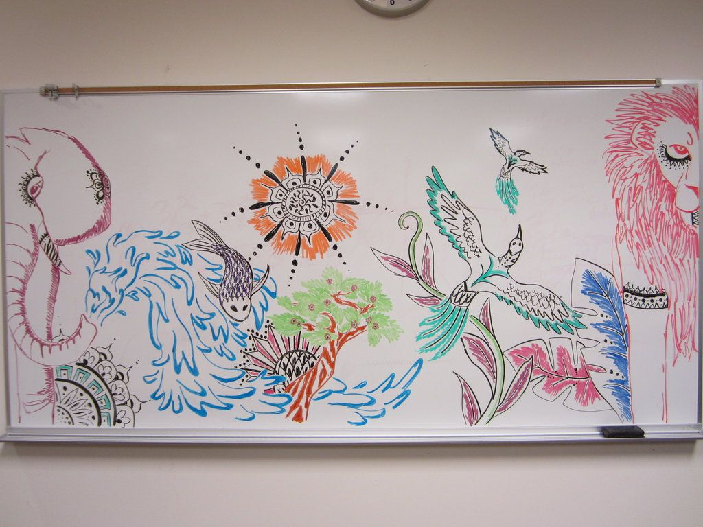 1000 things to do when bored 51 draw a mural on a for Cute whiteboard drawings