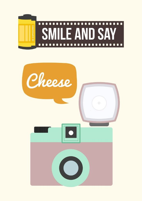 camera illustration art quote smile and say cheese via etsy