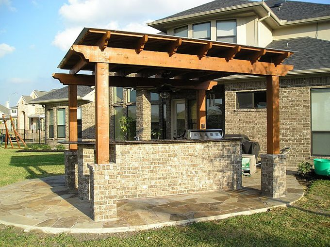 Small Outdoor Kitchens With Pergola For More About Our Pergolas In Houston Give Us A Call At 281 463 7748 Pergola Small Outdoor Kitchens Shade Arbor