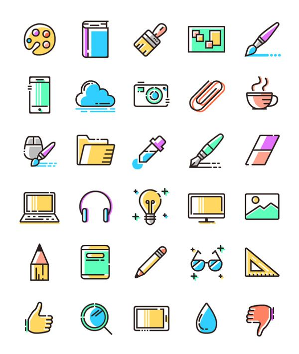 e970842a Free Download : Colored Line Icons (SVG, PNG)   Color line icon   Web  design icon, Line icon, Icon design