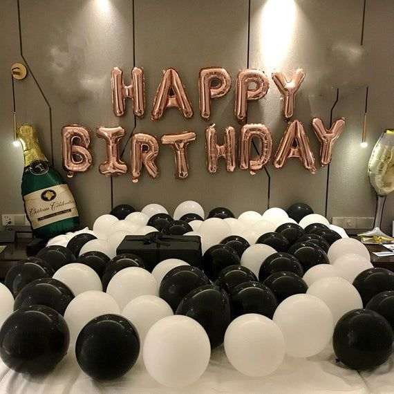 Rose Gold Happy Birthday Decoration With Champagne Balloon Set 21st Birthday Party Ideas Themes And Decor Birthday Party Supplies Birthday Party 21 21st Birthday Decorations Champagne Balloons