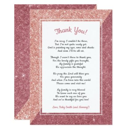 Rose Gold Glitter Poem Baby Shower Thank You Note Card  Rose