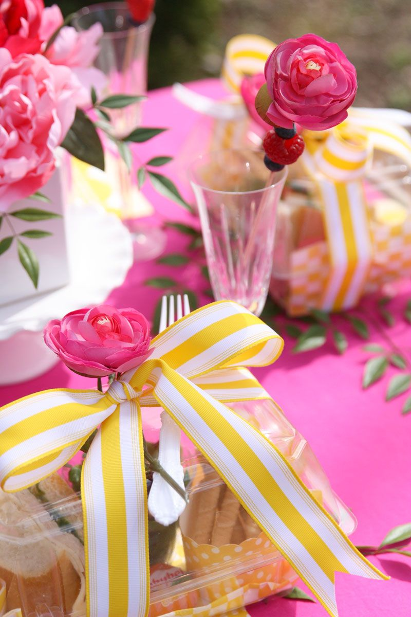 Pink + Yellow Tablescape | Bloggers Best | Pinterest | Bright pink ...