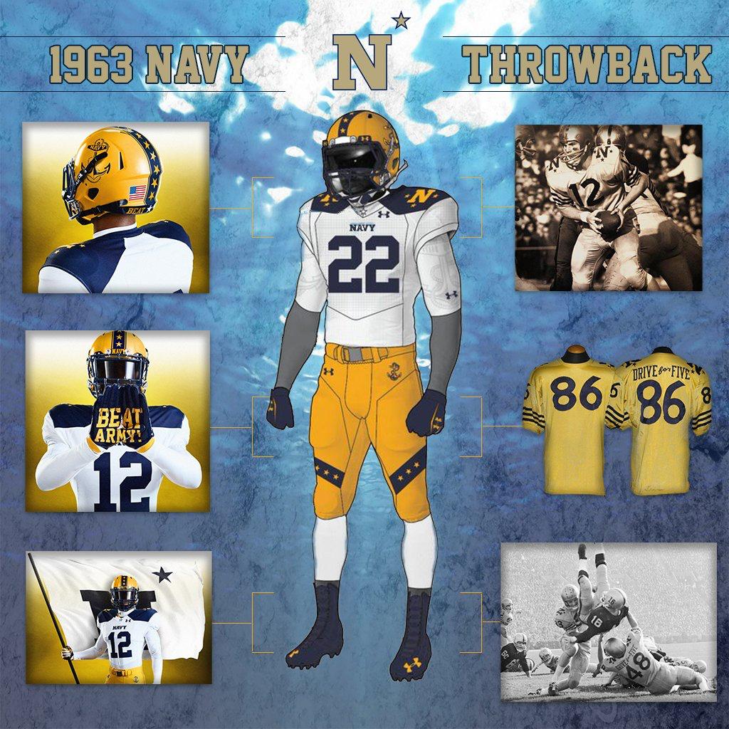 2016 Navy football uniform throwback to 1963. Army vs Navy