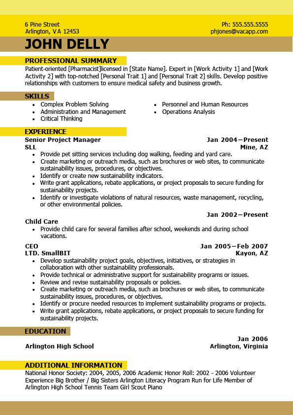 current formatted ms word resume managed project