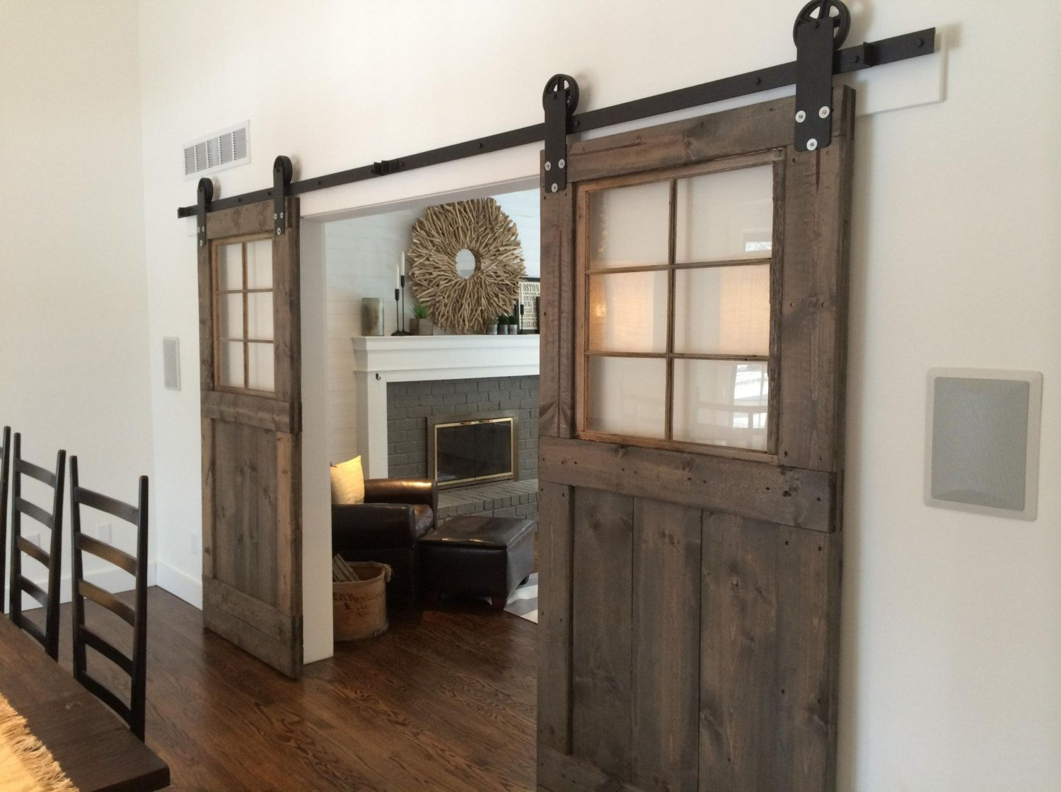 Vintage custom sliding barn door with windows price is for Barn door designs