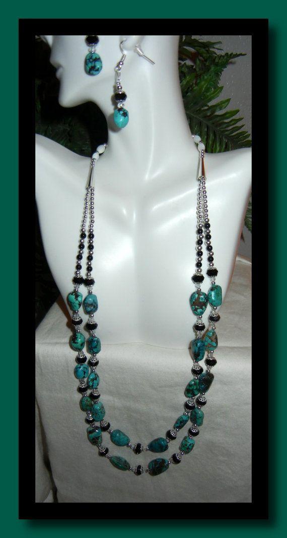 Turquoise Necklace Set by MaryMDesign on Etsy, $65.00