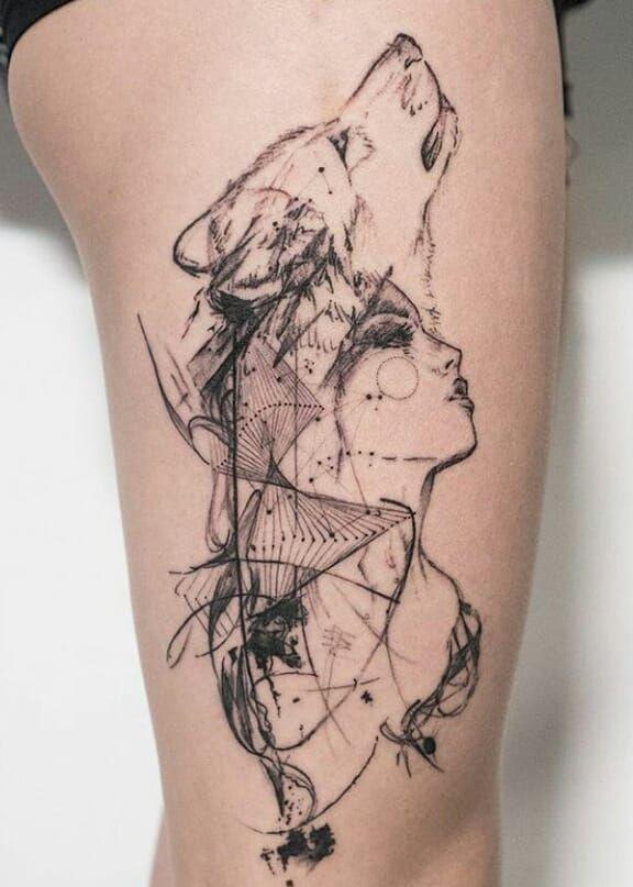 cool wolf tattoo designs © tattoo artist Through My Third Eye 💓💓💓