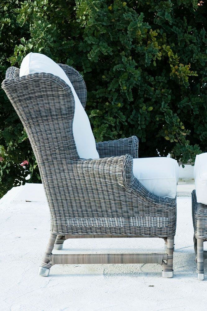 RUSTIC OUTDOOR RATTAN NICOLAS WING CHAIR Great Chair