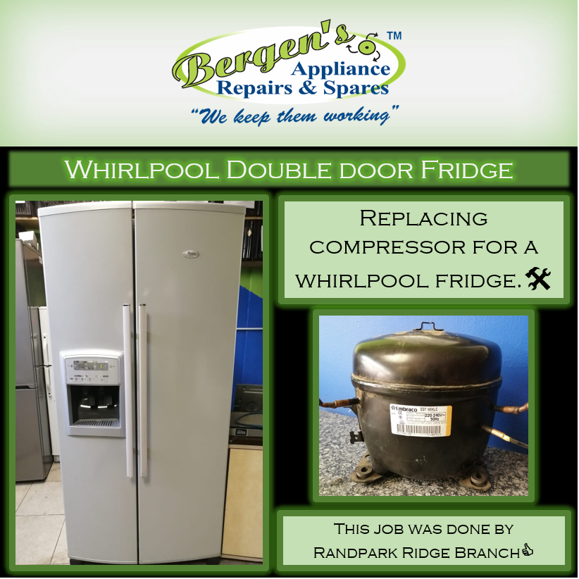 All This Whirlpool Fridge Needed Was A New Compressor And It S As Good As New Again Wekeepthemworking Whirlpool Fridges Appliance Repair Double Door Fridge
