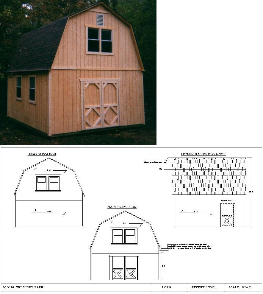 Building Plans And Blueprints 42130 16x16 Two Story Barn Style Shed Plans Buy It Now Only 10 On Ebay Building Plans Barn Style Shed Shed Simple Shed