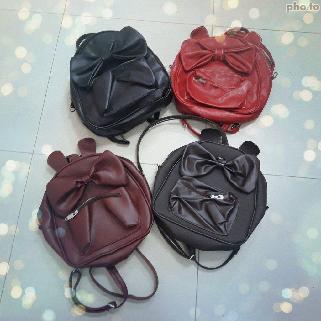 حقيبة كتف وظهر فيونكة حجم صغير بعدة ألوان Back Bag Bags Top Handle Bag