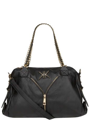 Kardashian Kollection Black Chain And Zip Slouch Bag