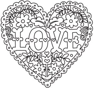 Love and Flowers Heart Valentine coloring pages