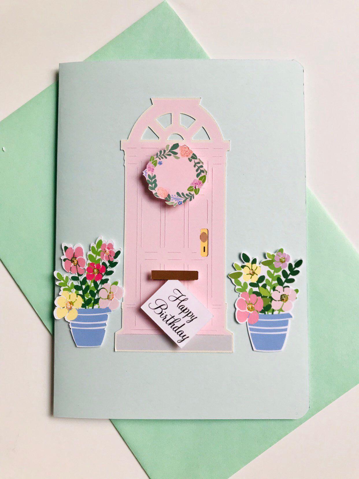 Happy Birthday 3d Card Blank Card Floral Bithday Etsy Origami Birthday Card Blank Birthday Cards Birthday Card For Aunt