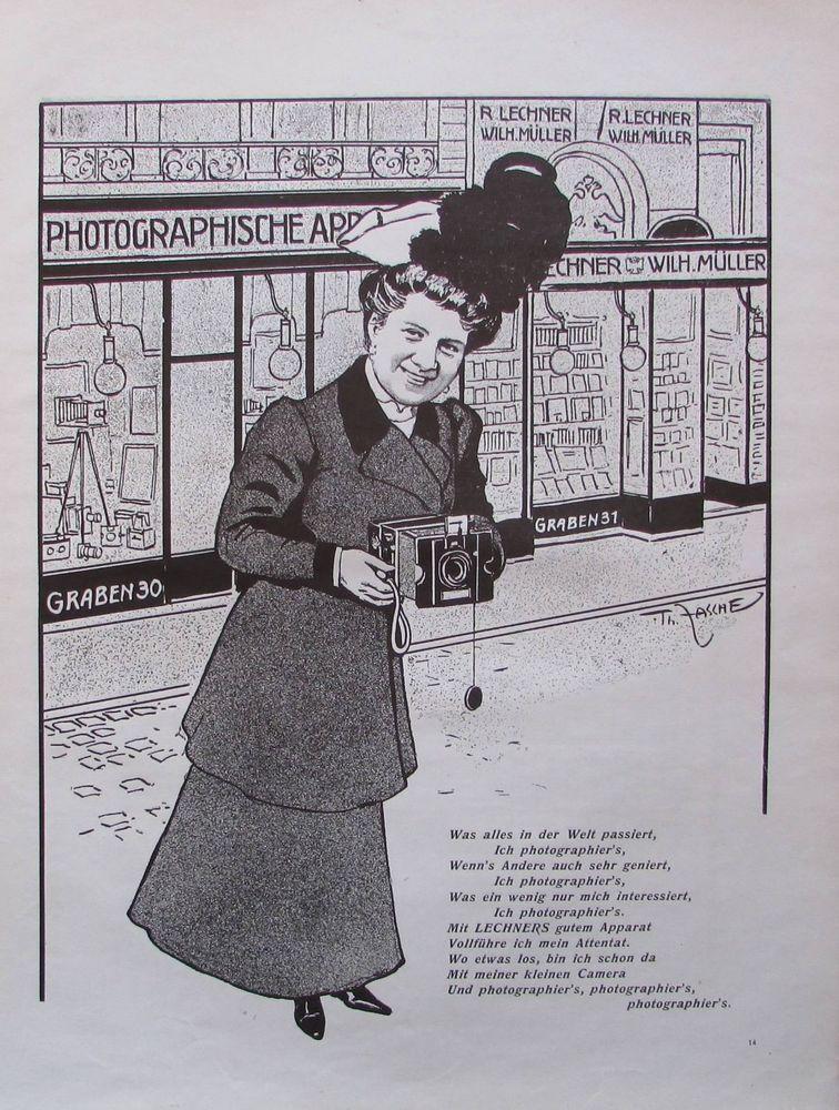 Müller Photographische Apparat R Werbung Lechner Wilh Kunstblatt aus 1907