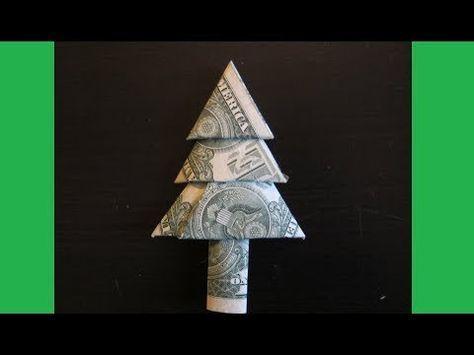 Christmas Crafts - DIY How to Fold Money Christmas Tree - Money Origami Tree  (EASY). Origami TreeDollar Bill ... - –� DIY How To Fold Money Standing Christmas Tree - Origami Tutorial