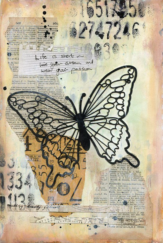 Live Your Dream art journal page featuring Scrap FX black butterfly silhouette.  www.scrapfx.com.au