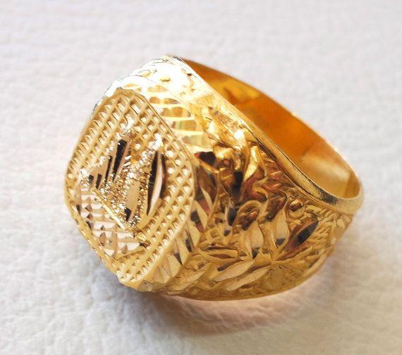 Einundzwanzig Karat 21 k gold schwerer Mann Ring Schiff Fatto su