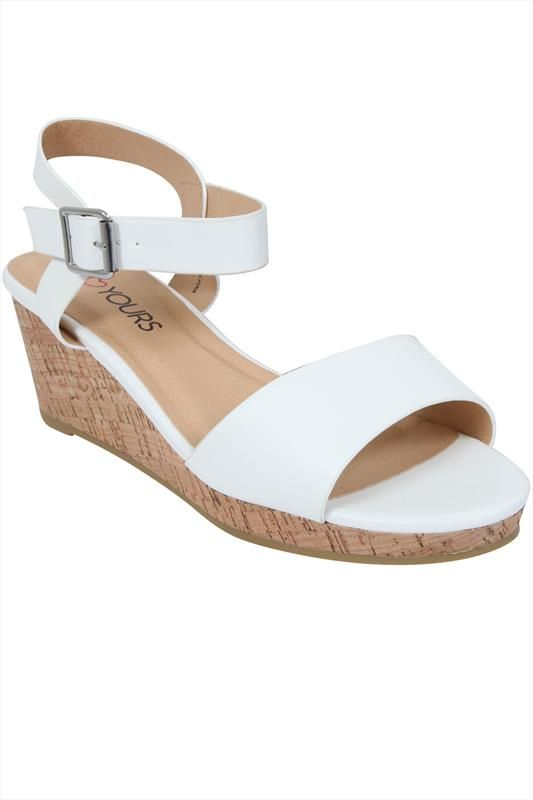 f0ce28e13 White High Cork Wedge Sandal In EEE Fit Wedge Sandal, Wedge Heels, White  Sandals
