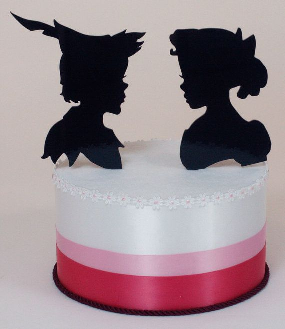 peter pan wedding cake topper wedding cake topper pan and wendy silhouettes 18308