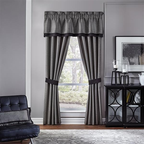 Oden Curtain Panel Pair Grey Modern Black Texture Window