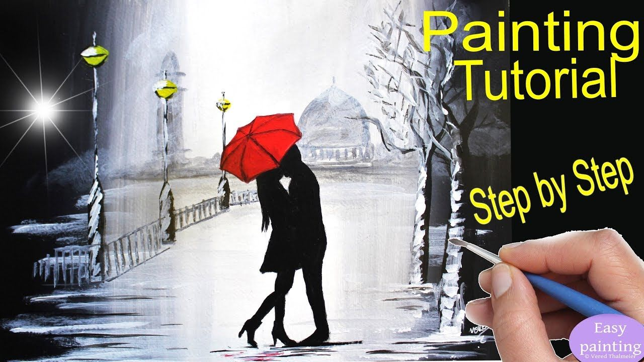 How To Paint Couple Kissing Red Umbrella Rainy Day Painting