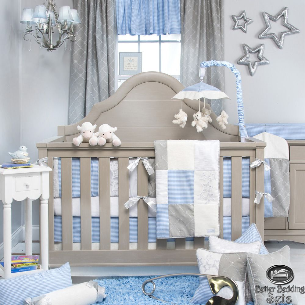 Baby Boy Blue Grey Star Designer Quilt Luxury Crib Nursery Newborn Bedding Set