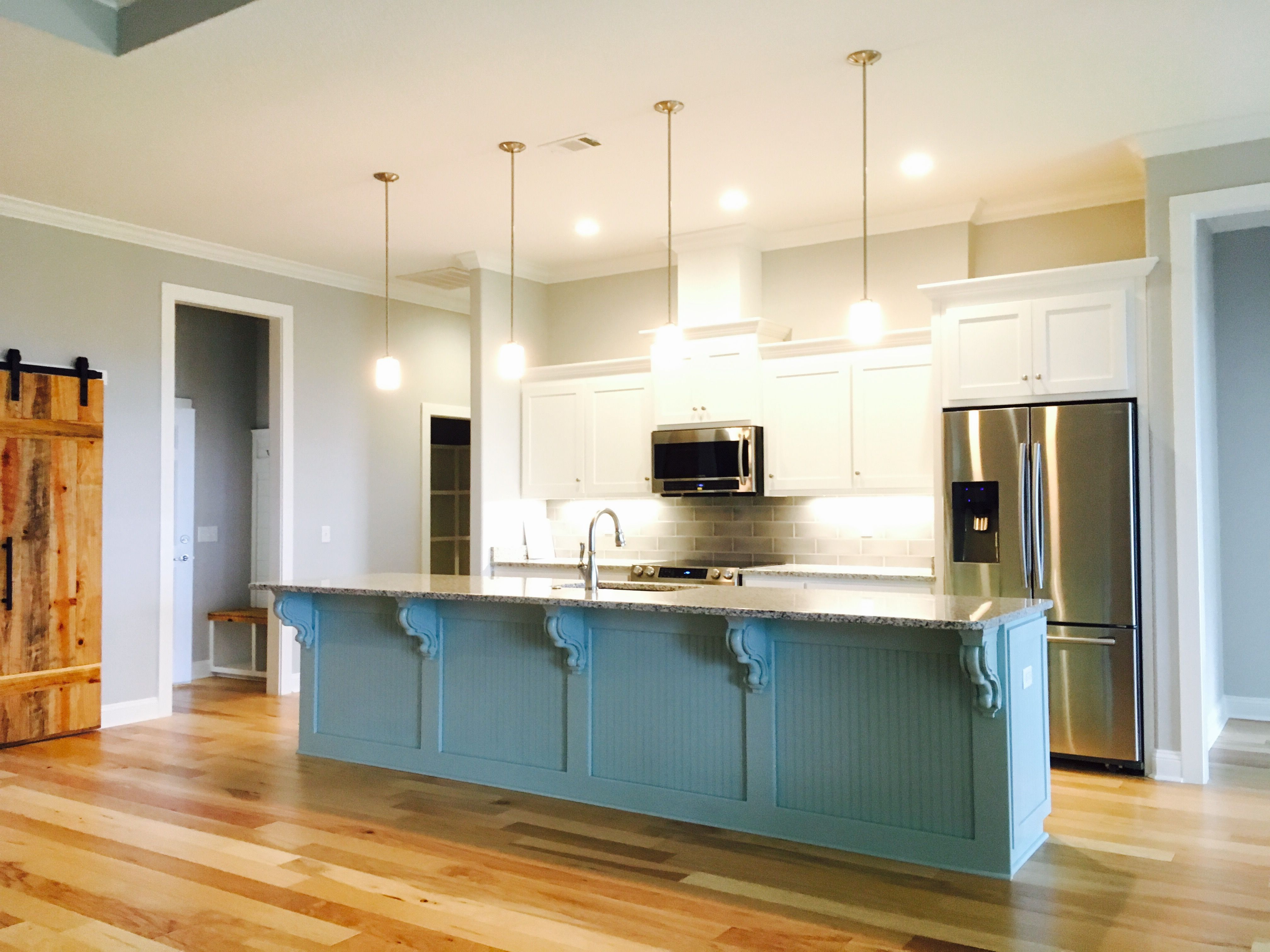 Kitchen Island In Watery By Sherwin Williams
